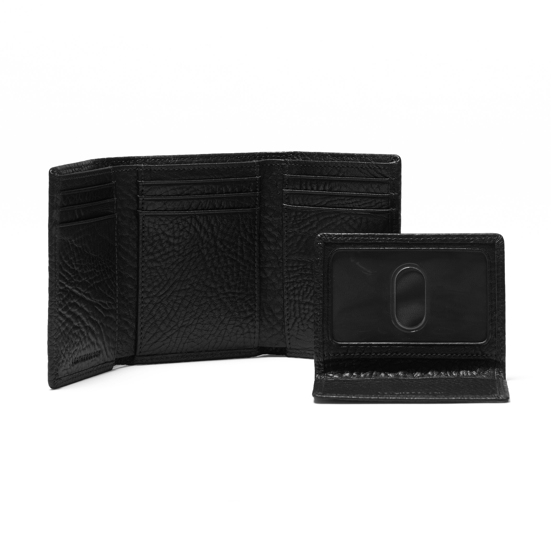 Trifold with Card Wallet - Full Grain Italian Leather Leather - Ebony (black) by Leatherology (Image #2)