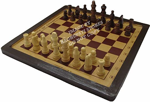 Skyhigh Muskaan Elegant Wooden Chess Set Board Game Checker with Cream and Brown Chessmen