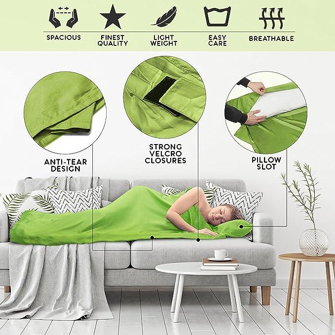 S/ábana saco de dormir ultraligero Saco s/ábana compacto de microfibra con compartimiento de almohada agregado S/ábana de viaje para adultos suave y sedoso Saco de dormir tambi/én como s/ábana de viaje