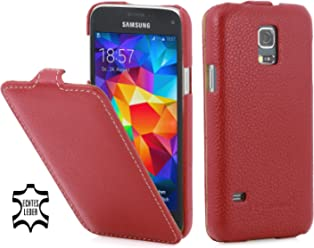 StilGut UltraSlim Case, custodia in vera pelle per Samsung Galaxy S5 mini, rosso