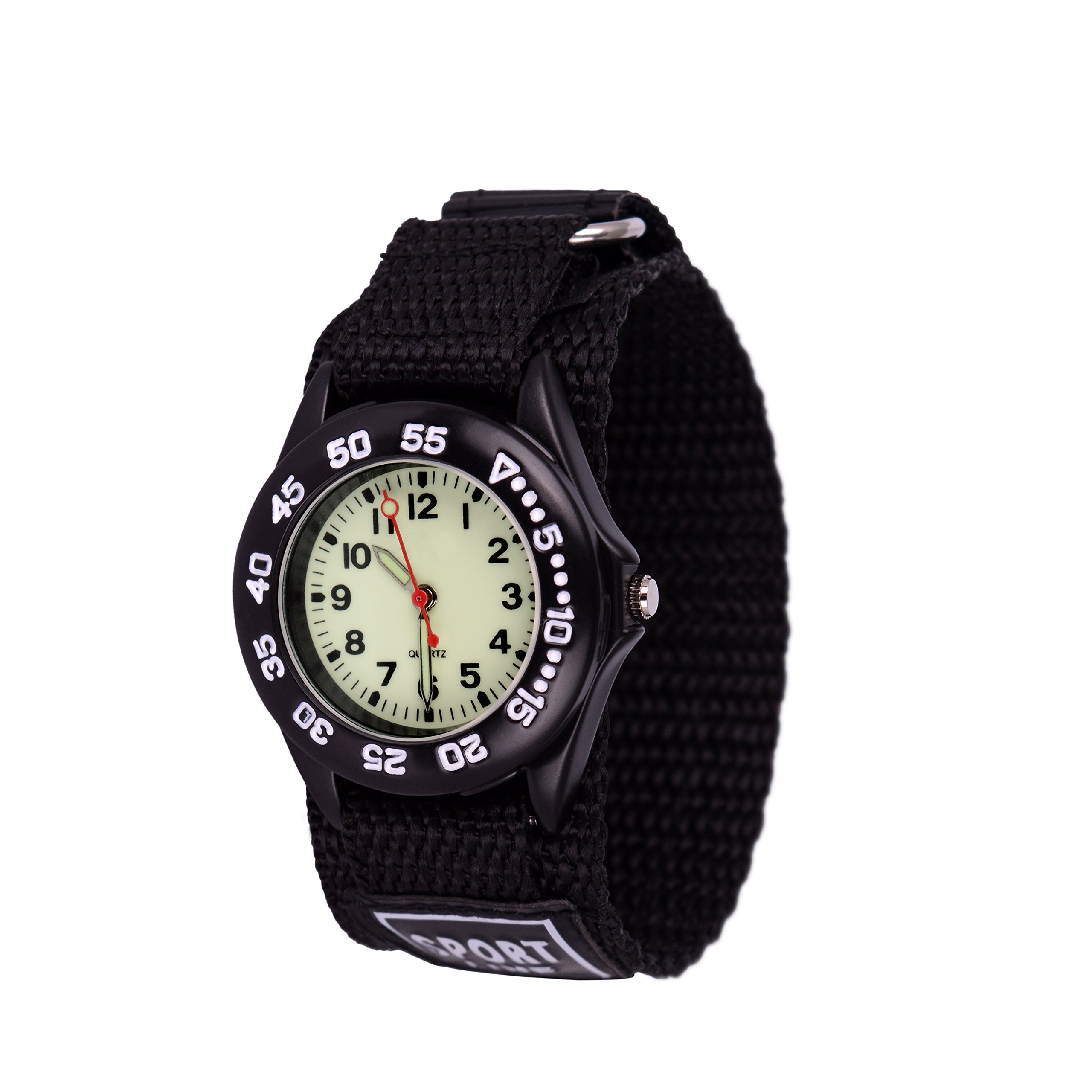 Wolfteeth Analog Watch for Boys Analog Watch with Light Hook and Loop Nylon Band Black 304201