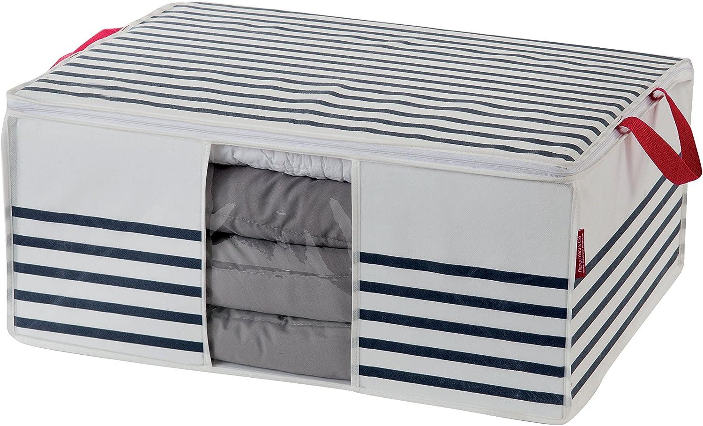 Compactor Funda Marinière, Cierre de Cremallera 100% hermético, Polypropylene y EVA, 50 x 65 x 27 cm, RAN5301, Non Woven 75Gm | Plastic Window, Blanco/Azul
