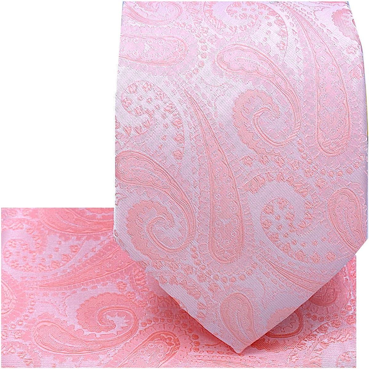 Oliver George Men's Paisley Design Necktie Pocket Square Handkerchief Set