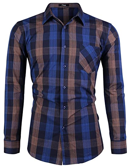 iClosam Camisa Hombre Slim Fit Manga Larga Transpirable Outwear ...