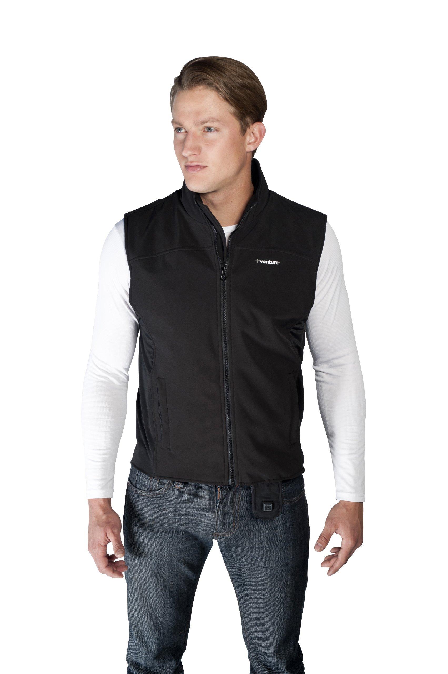 VentureHeat Quad-Zone Heated Soft Shell Motorcycle Vest (Black, Large)