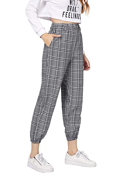 0afc7082ebdee SheIn Women's Casual Side Pockets Elastic Waist Plaid Pants Small Grey