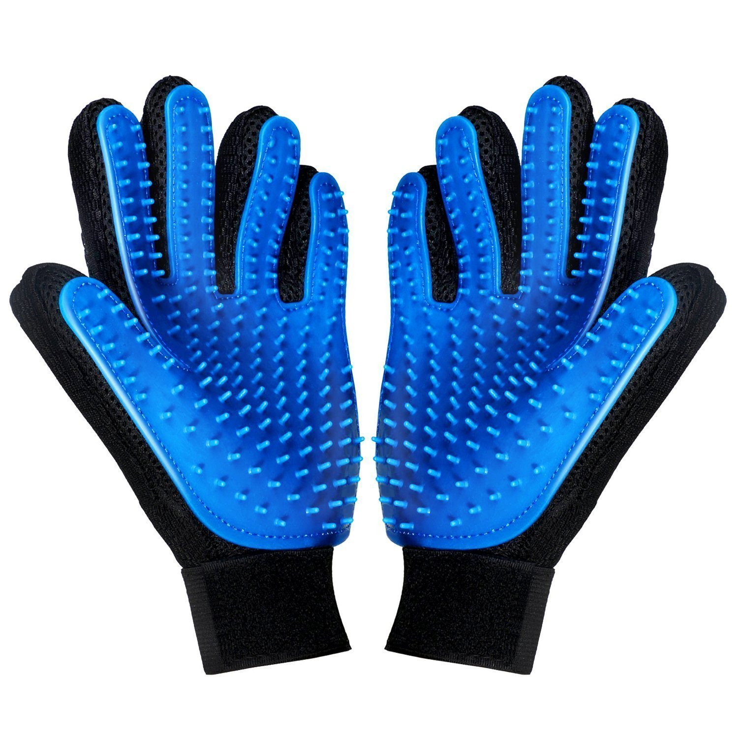 Pet Grooming Glove Left & Right Massage Tool - Gentle Deshedding Brush Glove - Enhanced Five Finger Design - Efficient Pet Hair Remover Mitt - Perfect for Dogs & Cats with Long & Short Fur