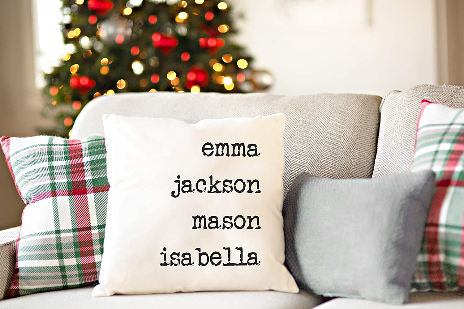 Qualtry Personalized Gift for Mom and Grandma, Also a Unique Warming Gift (1 Name) - Throw Pillow Covers Family House Decor 18 x 18 in, Unique Holiday for Grandparent, Sister, Wife, Couples