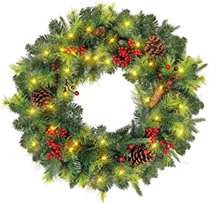Leaflai Christmas Wreath, Door Wreaths for Front Door Decoration, Mixed with Red Berries,Pine Cones and LED Warm Light, 24 Inch, WM201522-24W