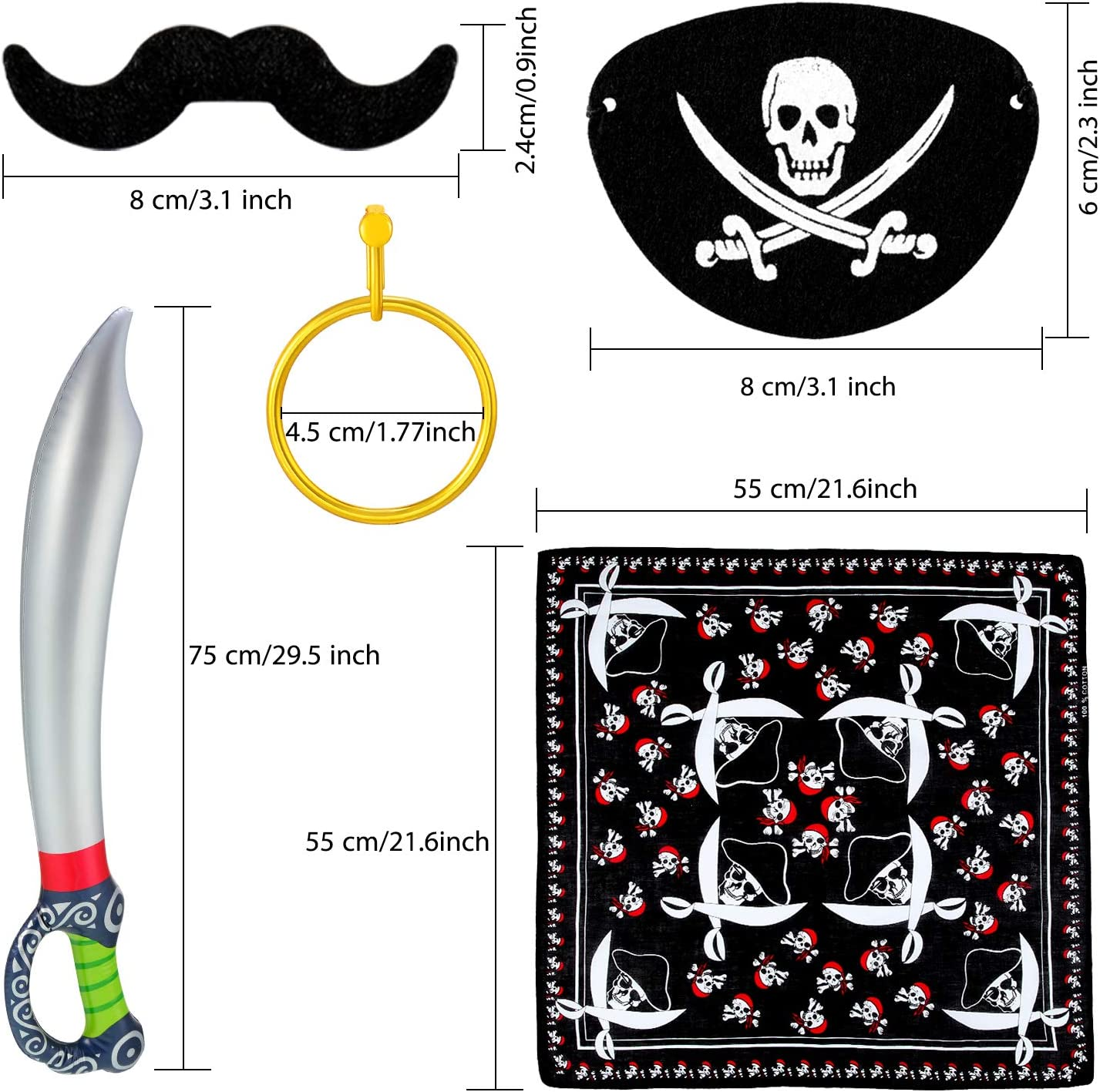 Pirate Captain Eye Patches Pirate Fake Mustache and Gold Earring for Halloween Pirate Costume Prop 44 Pieces Pirate Themed Party Supplies Pirate Bandana Pirate Inflatable Swords