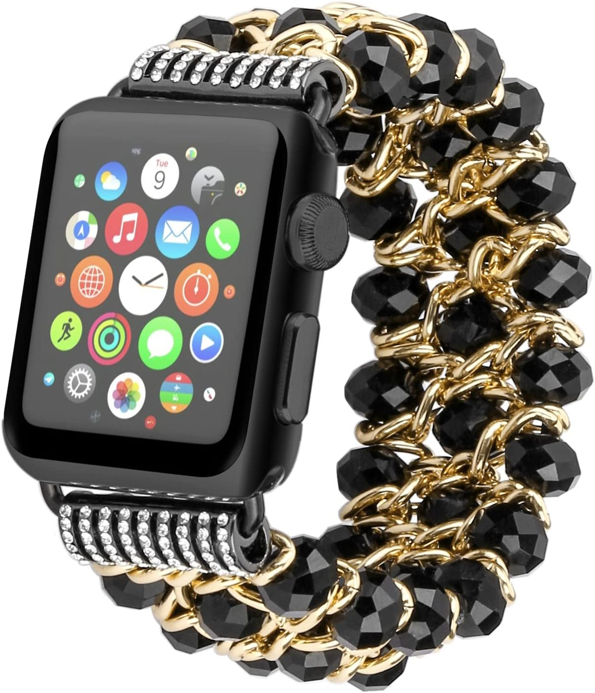 fohuas Compatible for Apple Watch Pearl Bracelet 42mm 44mm, Crystal Beads iWatch Band with Metal Gold Chain Jewelry Dressy Replacement Wristband Strap compatible for Apple Watch Series SE 6 5 4 3 2 1, Sport Edition Nike, Black