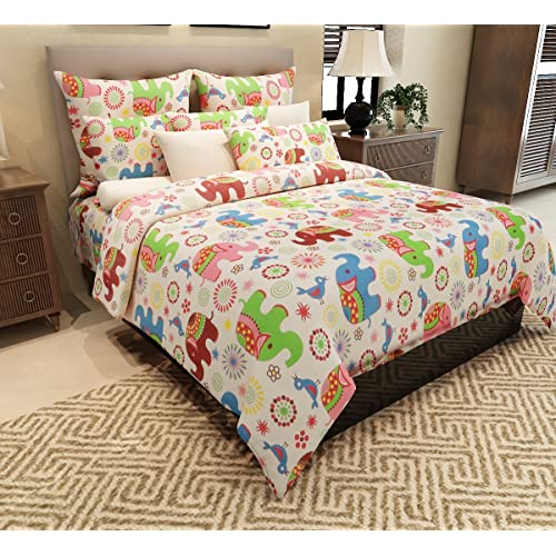 Home Candy 144 TC Cotton Double Bedsheet With 2 Pillow Covers   Kids,  Multicolour
