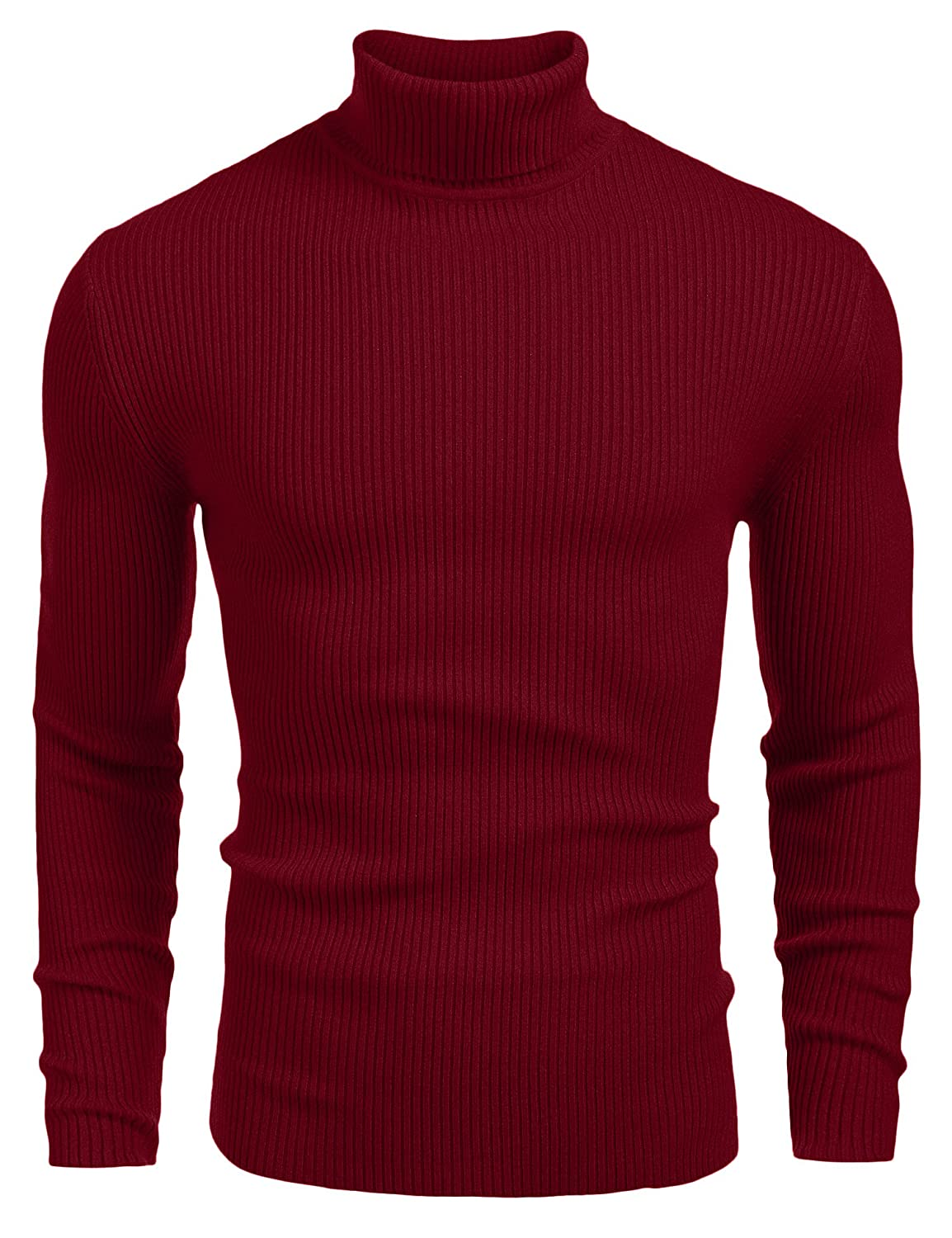 0d82254ad309 COOFANDY Mens Ribbed Slim Fit Knitted Pullover Turtleneck Sweater AS12240725