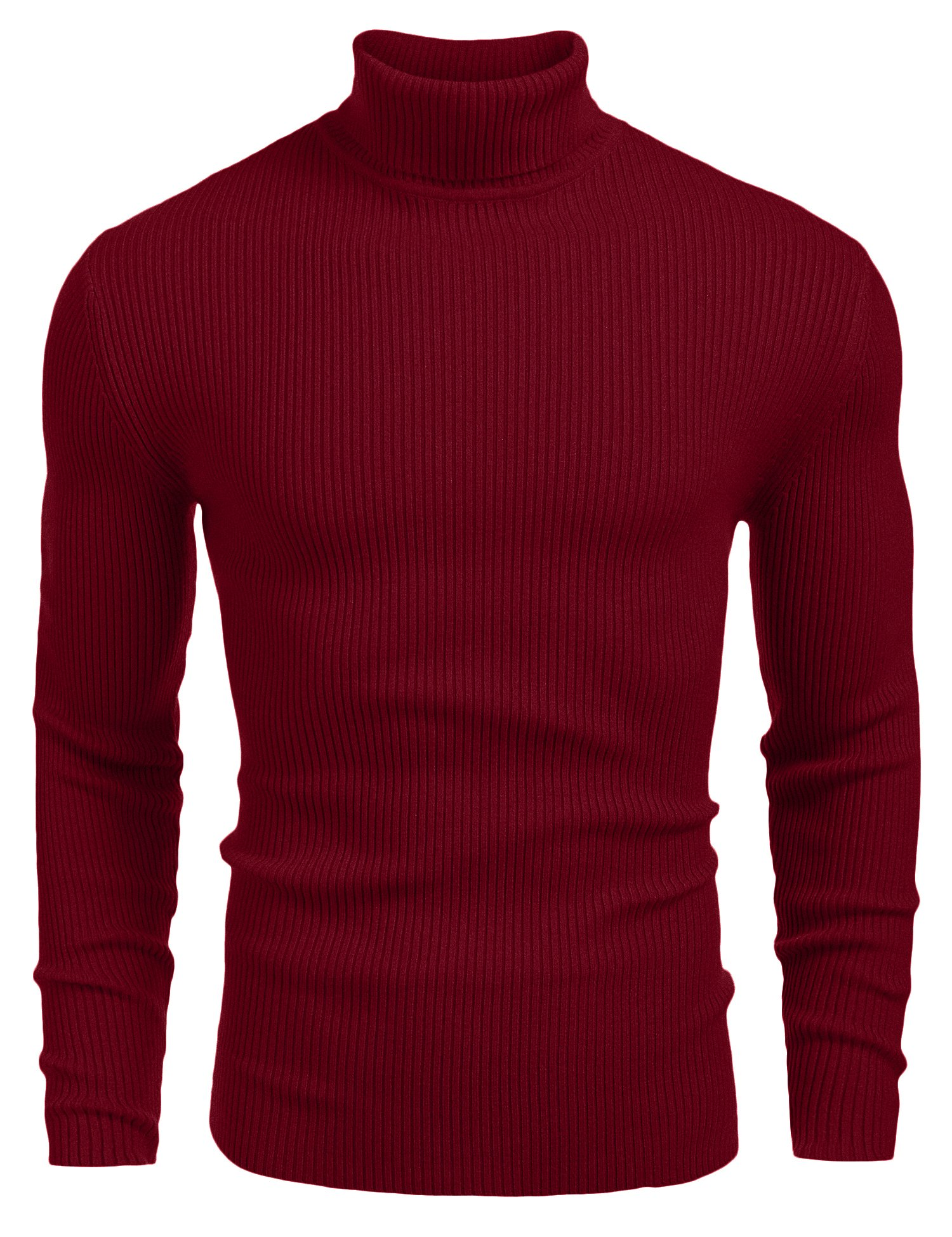 Coofandy Mens Ribbed Slim Fit Knitted Pullover Turtleneck Sweater, Wine Red ,X-Large
