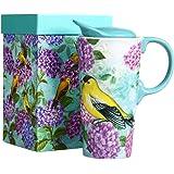 CEDAR HOME Travel Coffee Ceramic Mug Porcelain Latte Tea Cup With Lid 17oz. Humming bird