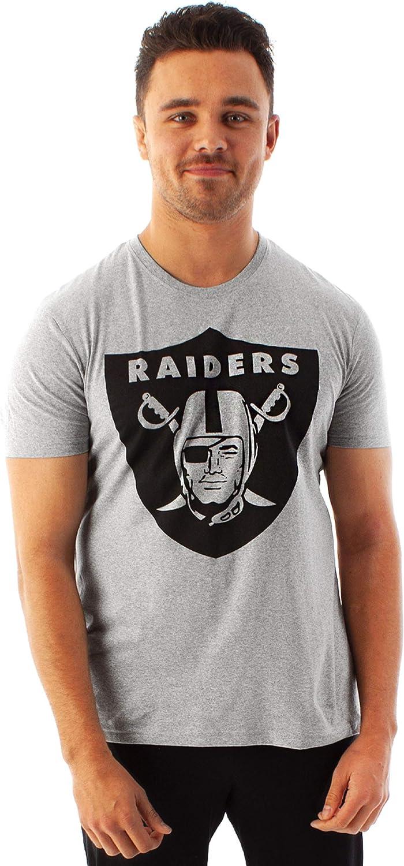 NFL Football Las Vegas Raiders Logo Camiseta Gris de Manga Corta para Hombre