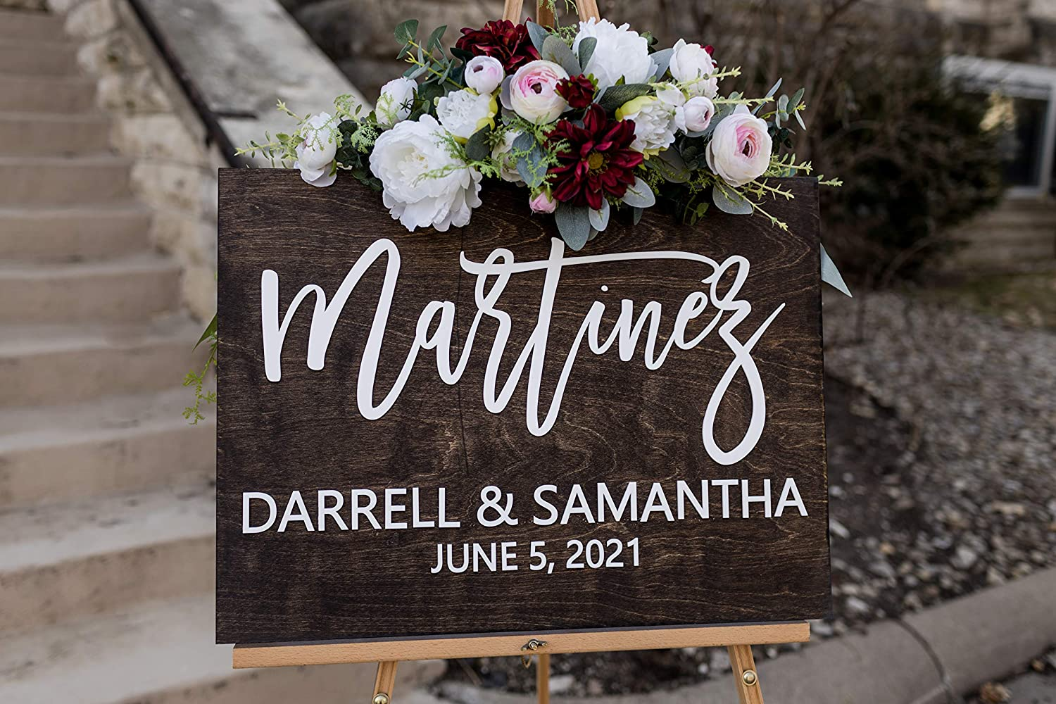 3D Last Name Wedding Ceremony Sign. Large Personalized Wooden Wedding Welcome Sign. Custom Wedding Decor. Customized with Your Names and Dates. Wedding Ceremony Decorations