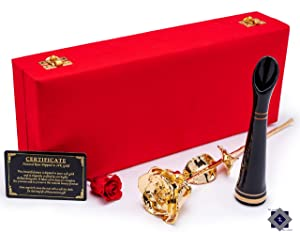 Gold Rose Dipped 24k. Long Lasting Real Rose in a Box. A Romantic Gift Idea for Your Loved One. It is Presented in an Exquisite Velvet Case and a Ceramic Lacquer Vase. (Gold in RED Box)