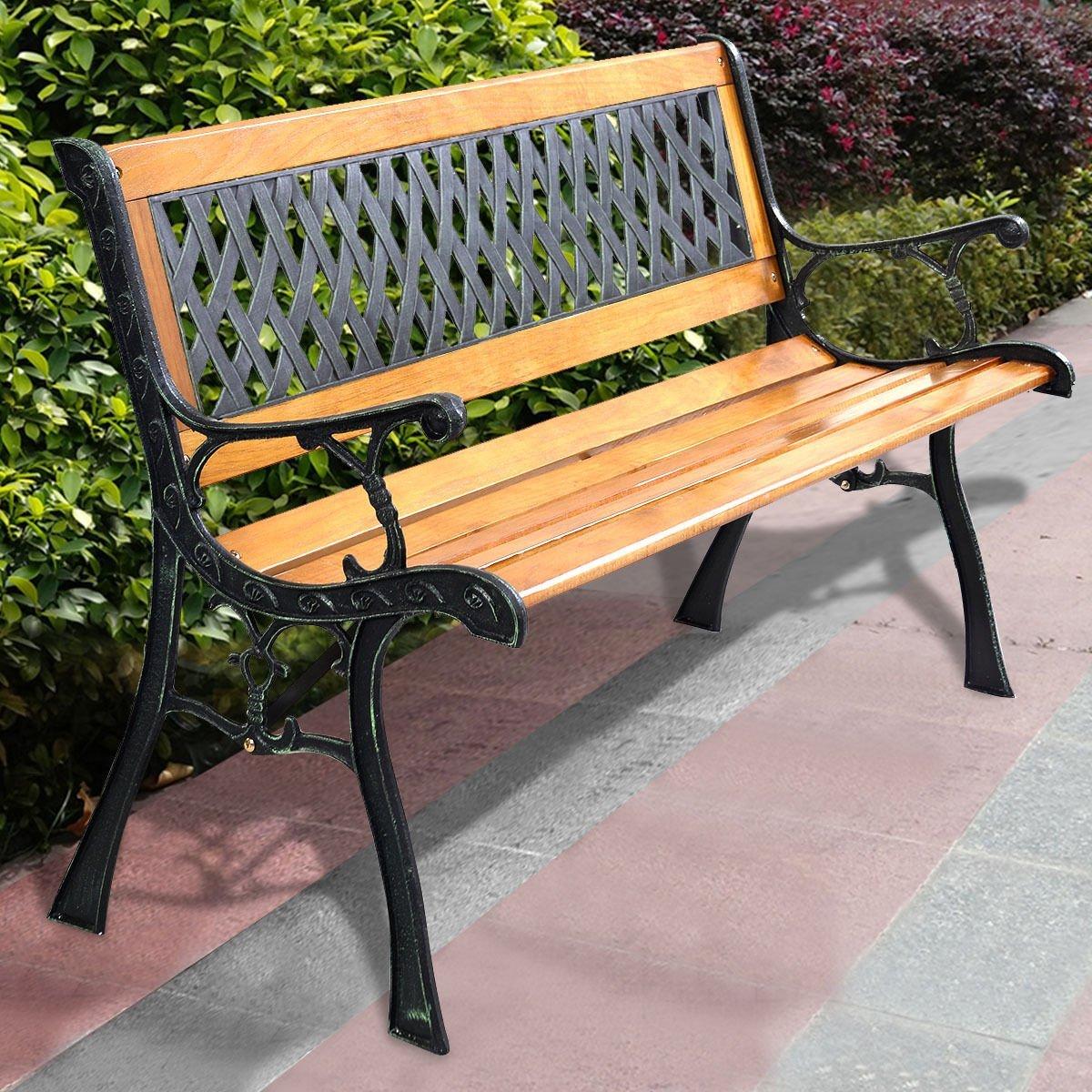 49 1/2'' Patio Park Garden Bench Porch Path Chair Outdoor Deck Cast Iron Hardwood