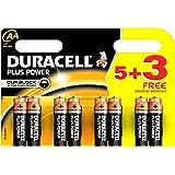 Duracell Plus Power - Pila alcalina AA (5 + 3 unidades gratis), 8 unidades