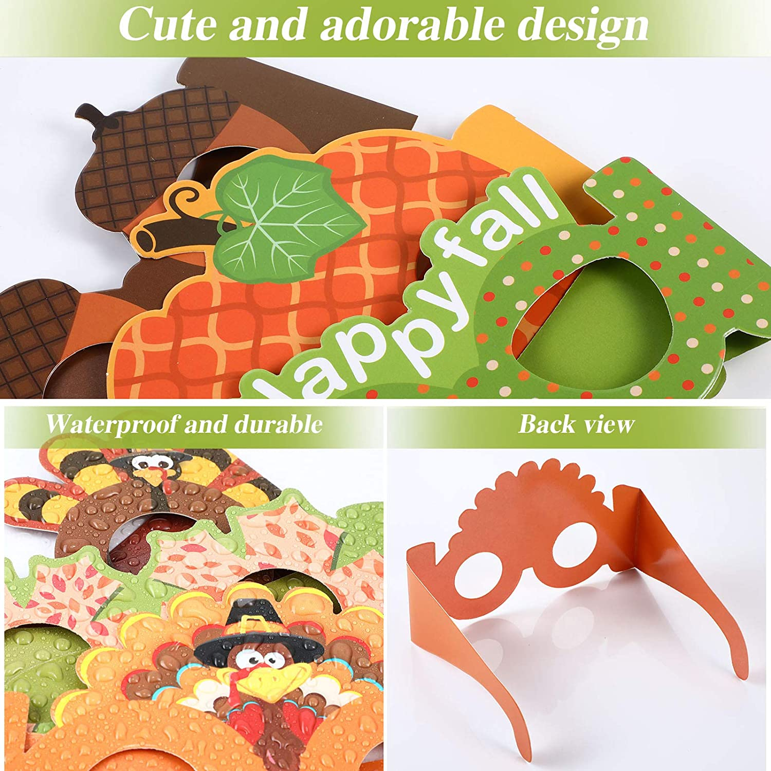 Pack of 10 Thanksgiving Party Decorations Thanksgiving Glasses Novelty Colorful Paper Pumpkin Turkey Glasses Funny Photo Booth Props for Fall Autumn Halloween Thanksgiving Party Supplies