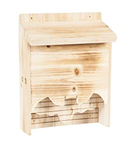 Evergreen Garden Rustic, Beautiful & Eco-Friendly Bat House with Bat Shape Cut-Out, 13 Inches