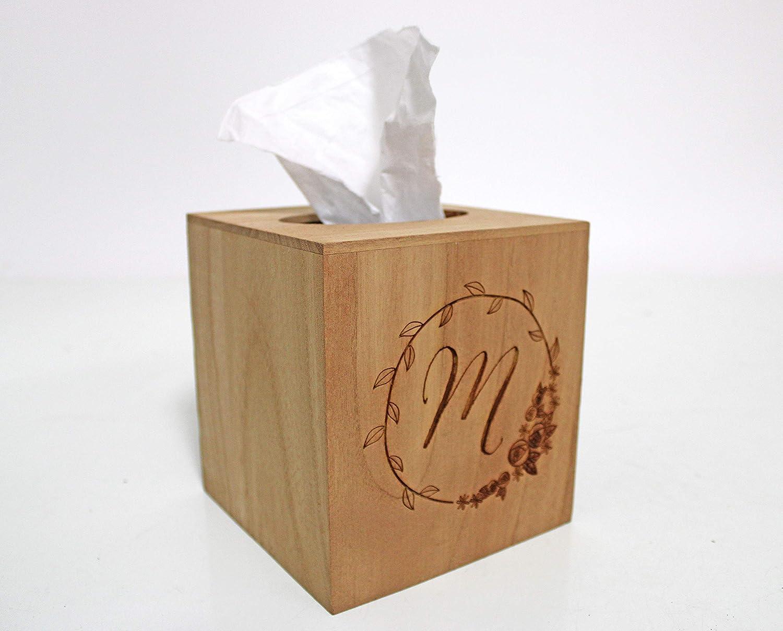 Wood Tissue Box Cover Personalized Monogram Initial in Rosebud Wreath