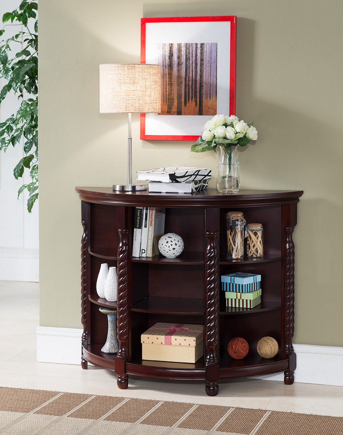 Kings Brand Furniture Wood Entryway Buffet Console Sofa Table, Cherry by Kings Brand Furniture