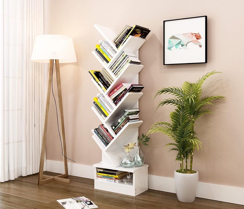 Estantería organizadora para libros con forma de árbol de Vanimeu, madera, Titanium White, 9 Tie