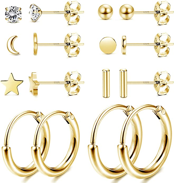 dailymall 8 Pairs 925 Sterling Silver Earring Studs Ear Pin 3mm Ball Post with Loop and Earring Backs for Jewelry Making Women Girl Earrings