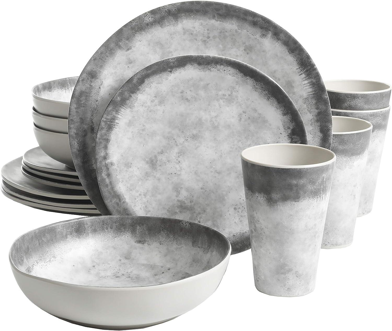 Gibson Home Granite Organic Round Melamine Dinnerware Set, Service for Four (16pcs), Marble