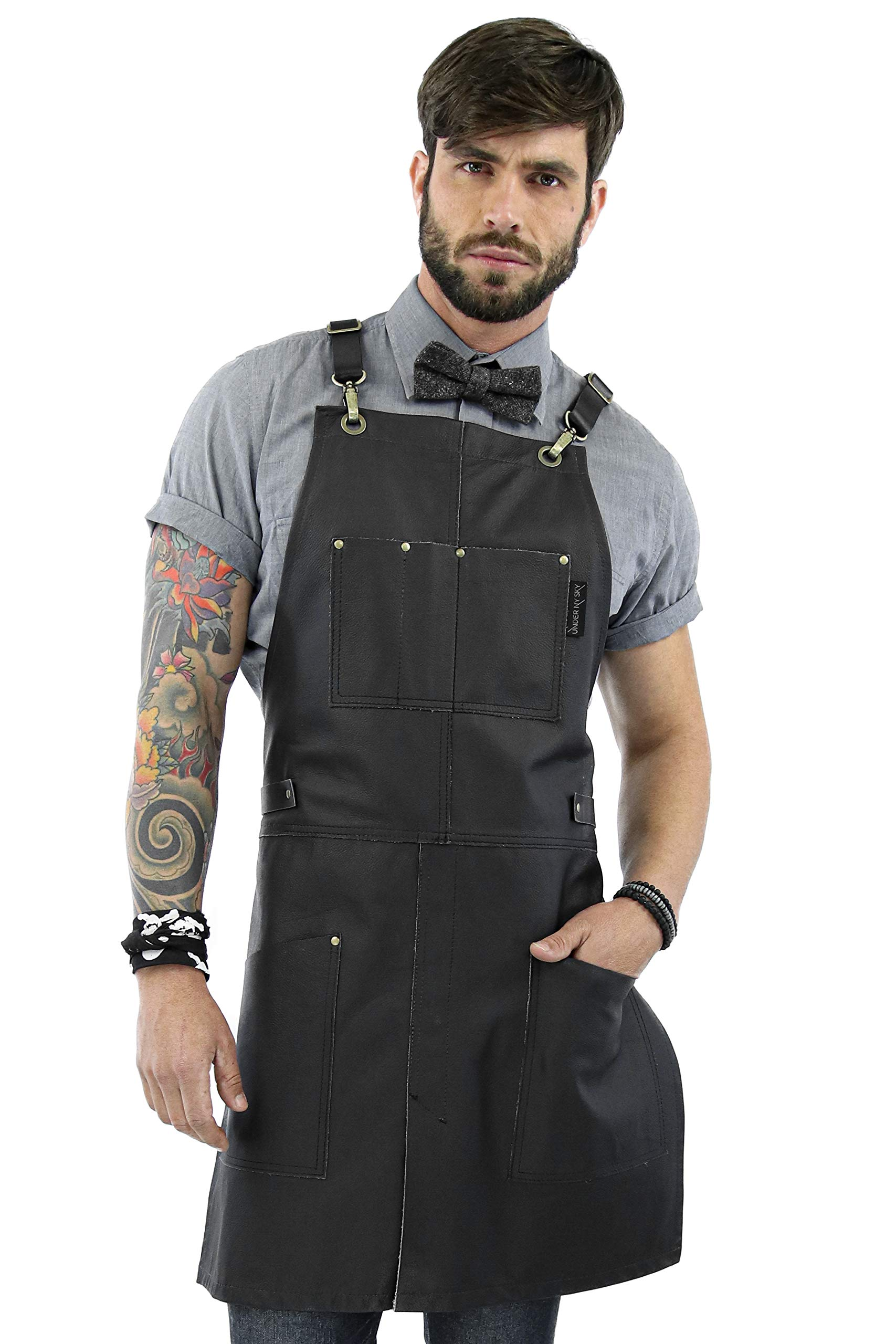 Under NY Sky Real Leather Apron - Black Leather Body, Pockets and Crossback Straps - Split-Leg, Lined - Adjustable for Men and Women - Pro Chef, Barista, Barber, Woodworker, Shop, Bartender, Maker by Under NY Sky