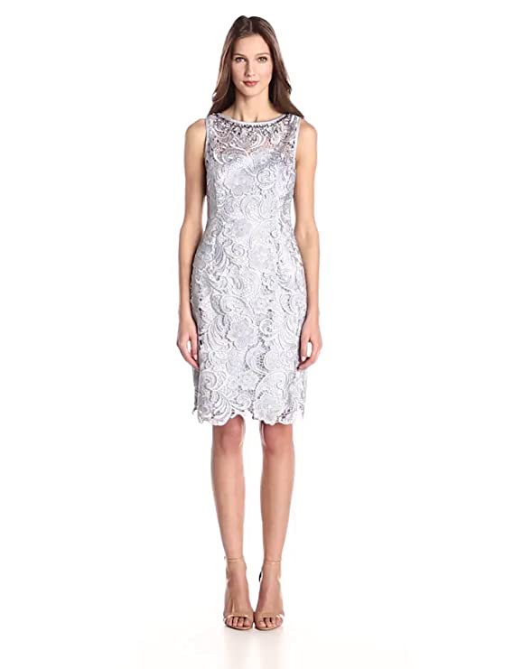 Amazon.com: Adrianna Papell Womens Jewelry Neckline Lace Cocktail Dress, Light Dove, 8: Clothing
