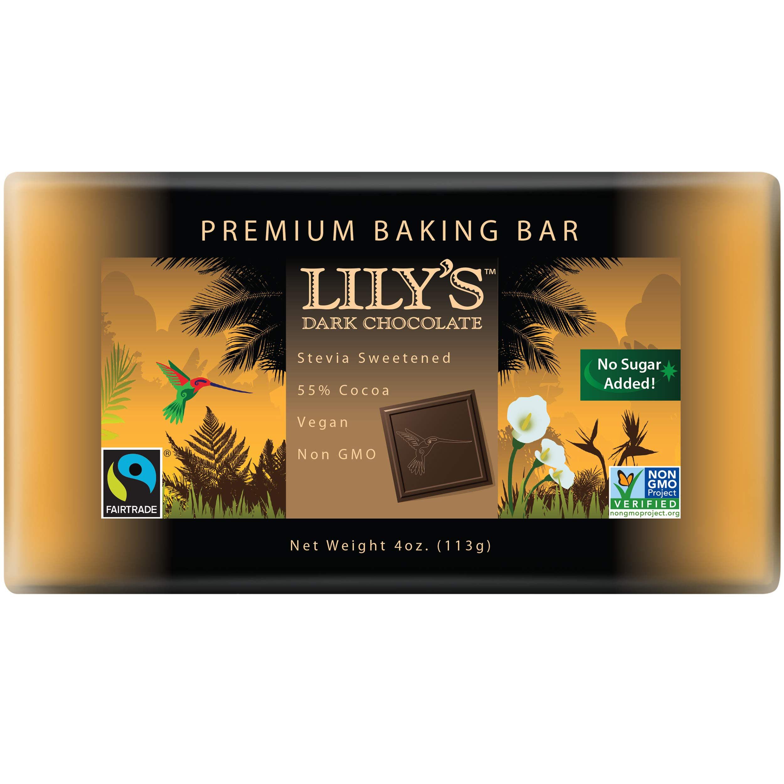 Premium Dark Chocolate Baking Bar by Lily's Sweets | Stevia Sweetened, No Added Sugar, Low-Carb, Keto Friendly | 55% Cacao | Fair Trade, Vegan, Gluten-Free & Non-GMO | 4 ounce by Lily`s Sweets