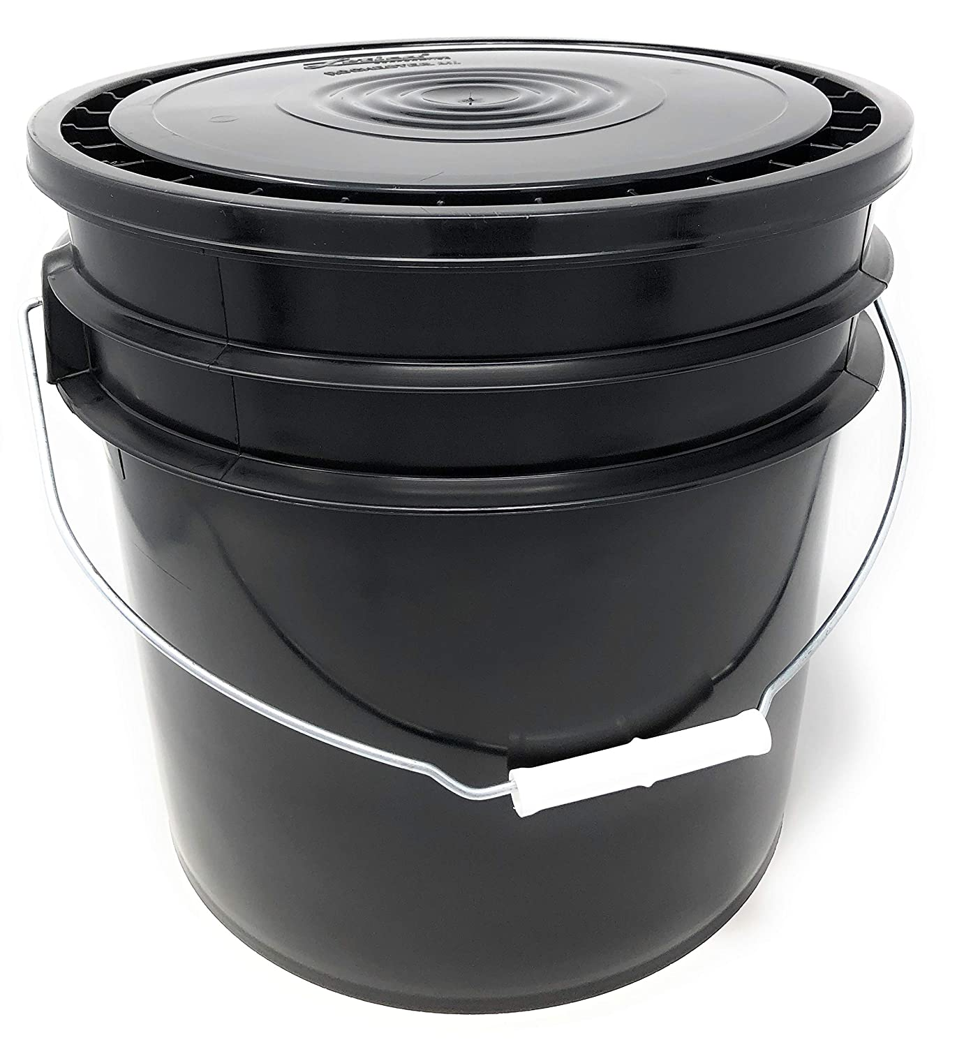 Hudson Exchange Premium 3.5 Gallon Bucket with Lid, HDPE, Black, 4 Pack