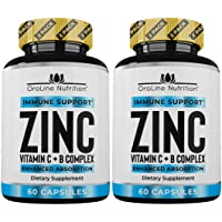 Oroline Zinc Supplements for Immune Support - [2 Pack] Vitamin C and Zinc 50mg Supplement...