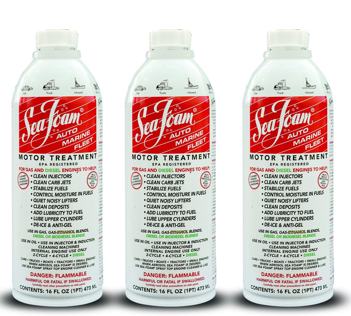 Sea Foam Motor Tune - Up per messa a punto dei motori. Fino a SF16 per motori diesel e a benzina (confezione da 3 pezzi) SeaFoam