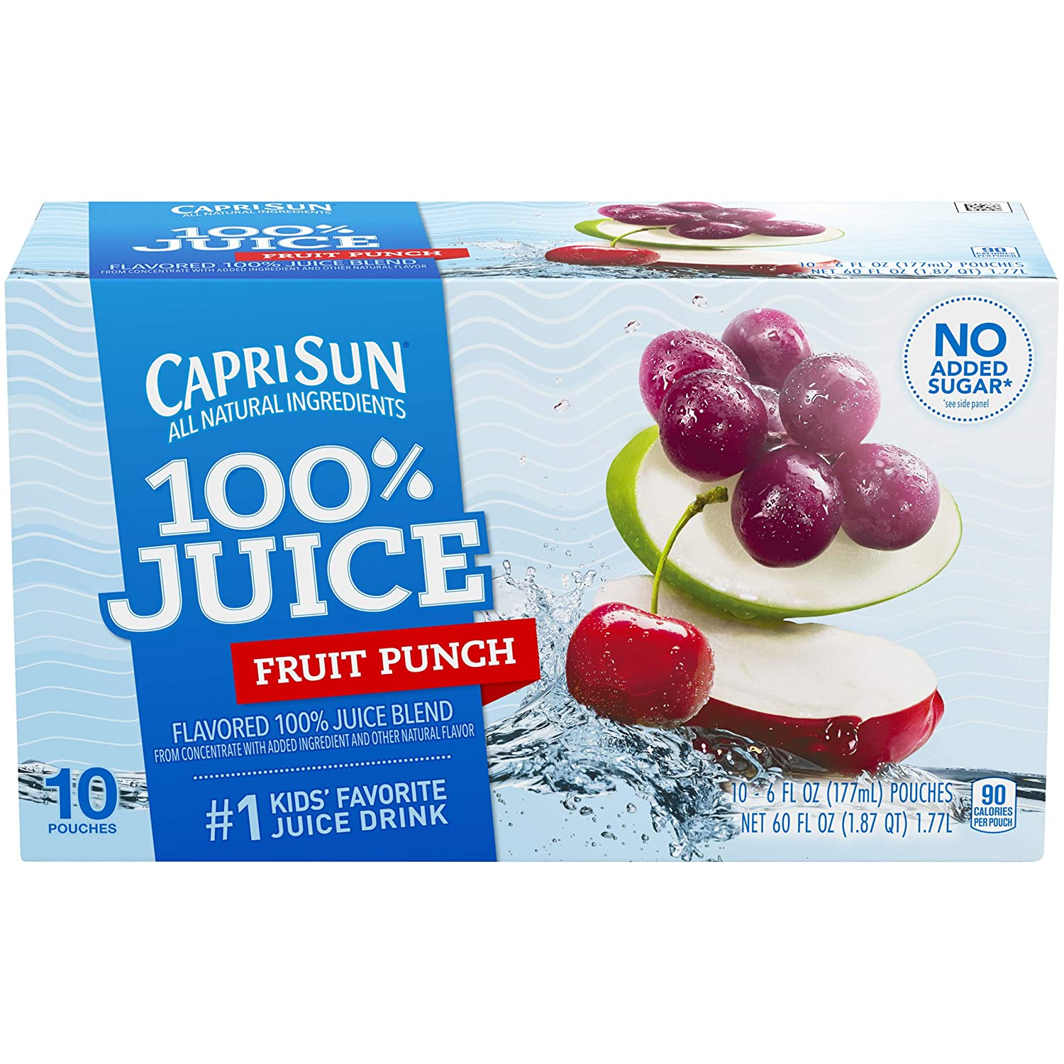 Capri Sun 100% Fruit Punch Juice, 60 Fl. Oz (Pack of 4)