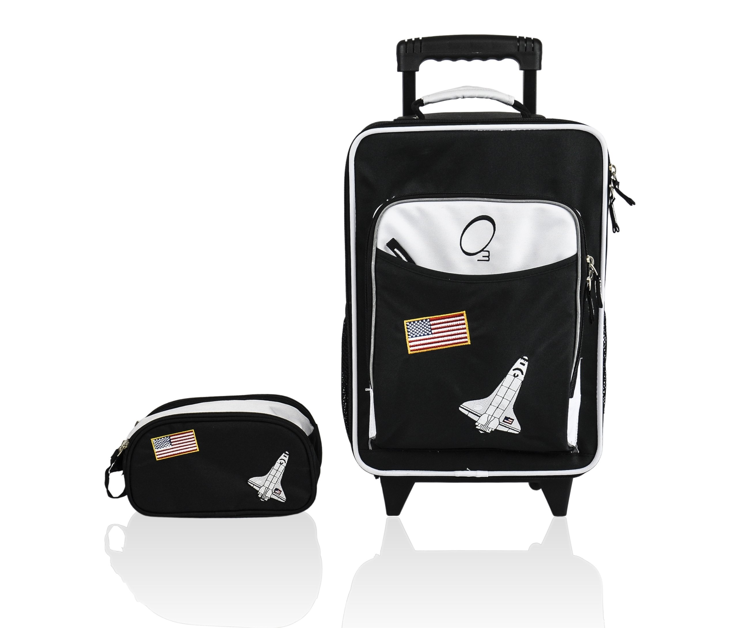 Kids Luggage Set, Large Rolling Piece and Travel Toiletry Case (Space) - Obersee by Obersee (Image #1)