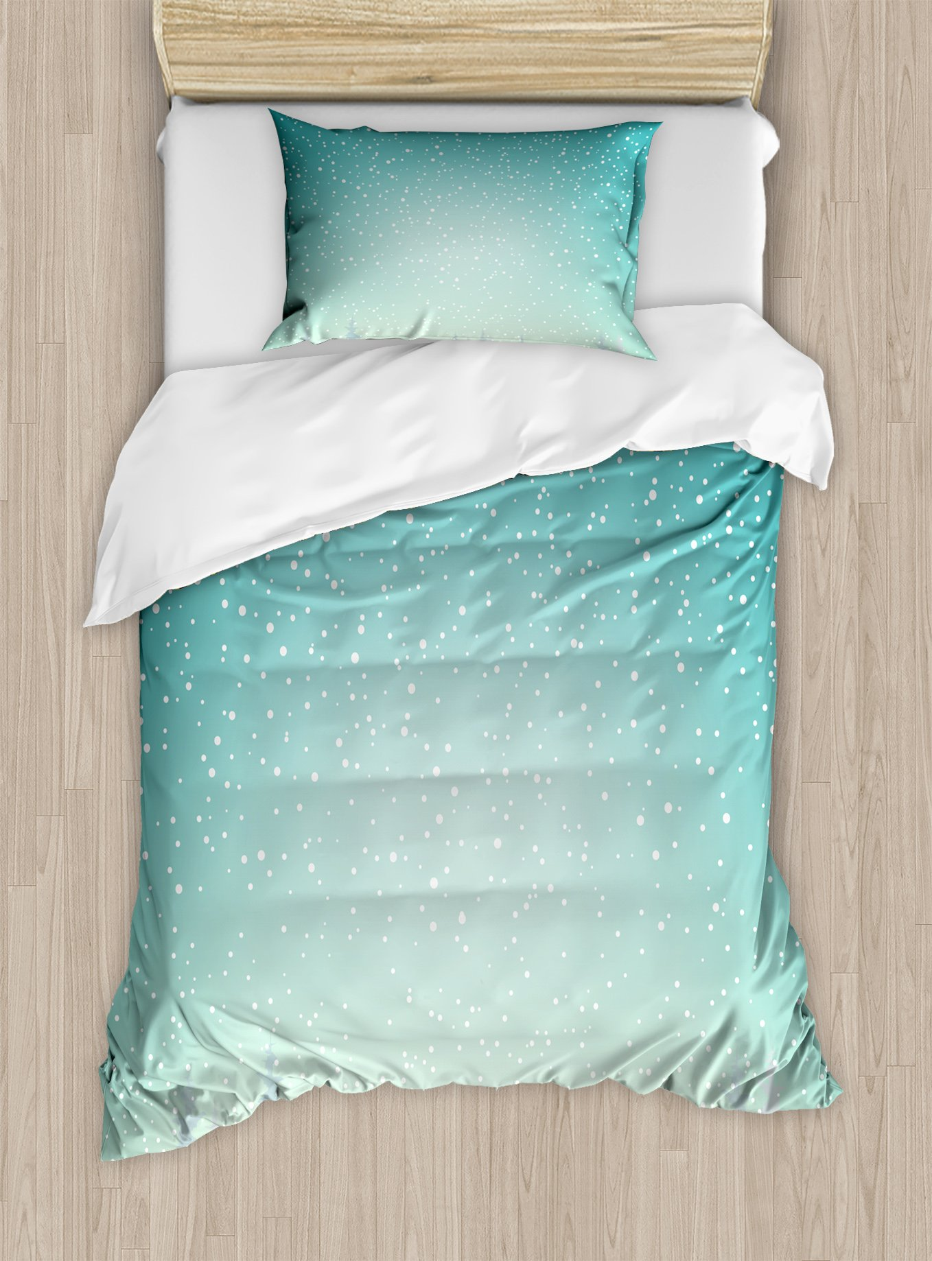 Ambesonne Winter Duvet Cover Set Twin Size, Snow Falls on The Spruce Forest Fir Trees Seasonal Nature Woods ICY Cold Xmas Time, Decorative 2 Piece Bedding Set with 1 Pillow Sham,