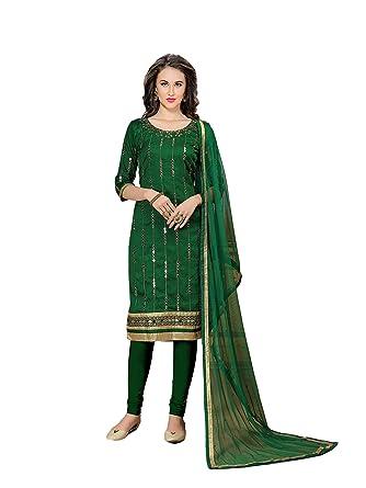 Magaraa Women S Dark Green Color Casual Straigt Cut Salwar Three
