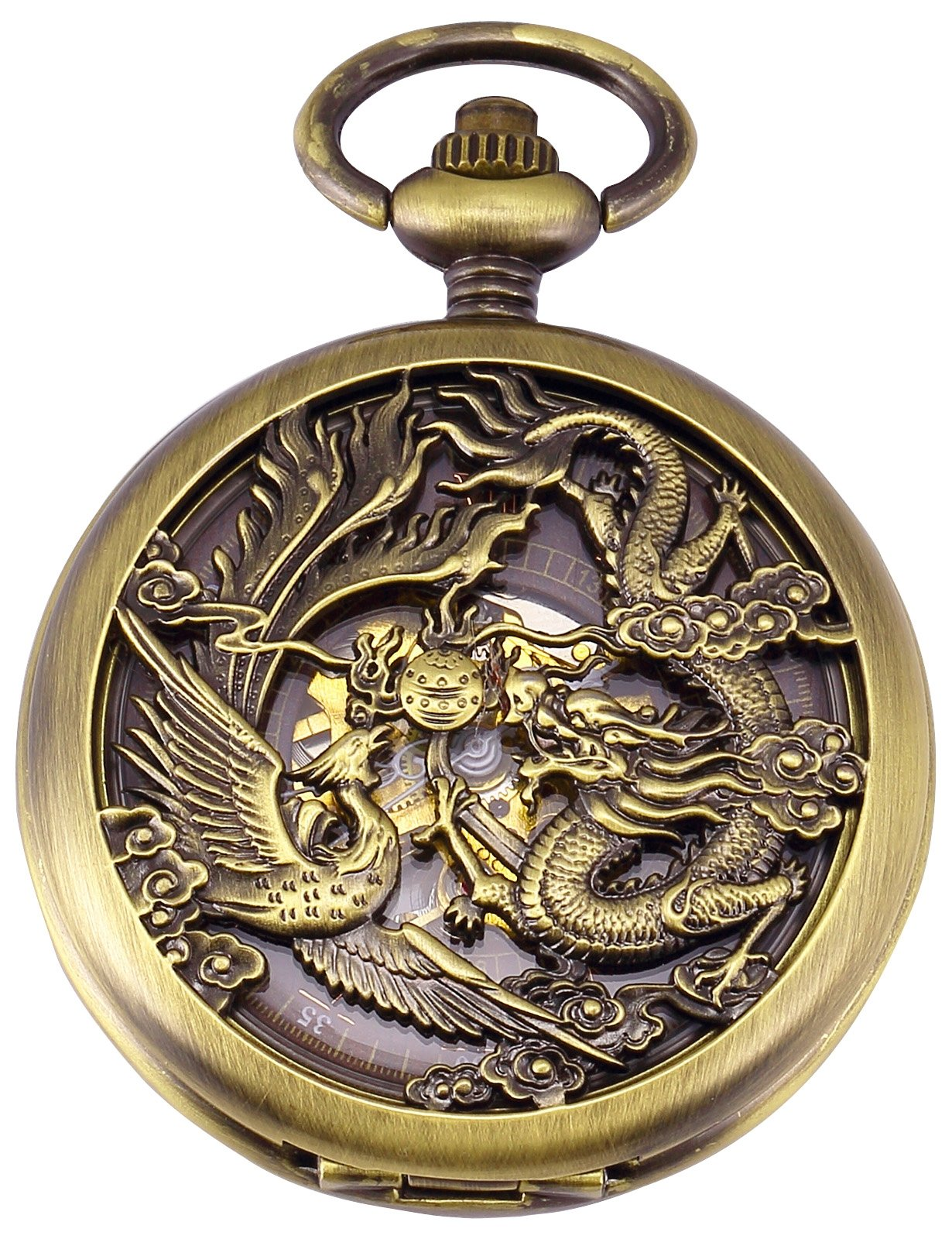 AMPM24 Dragon Skeleton Bronze Case Mechanical Pocket Watch WPK230