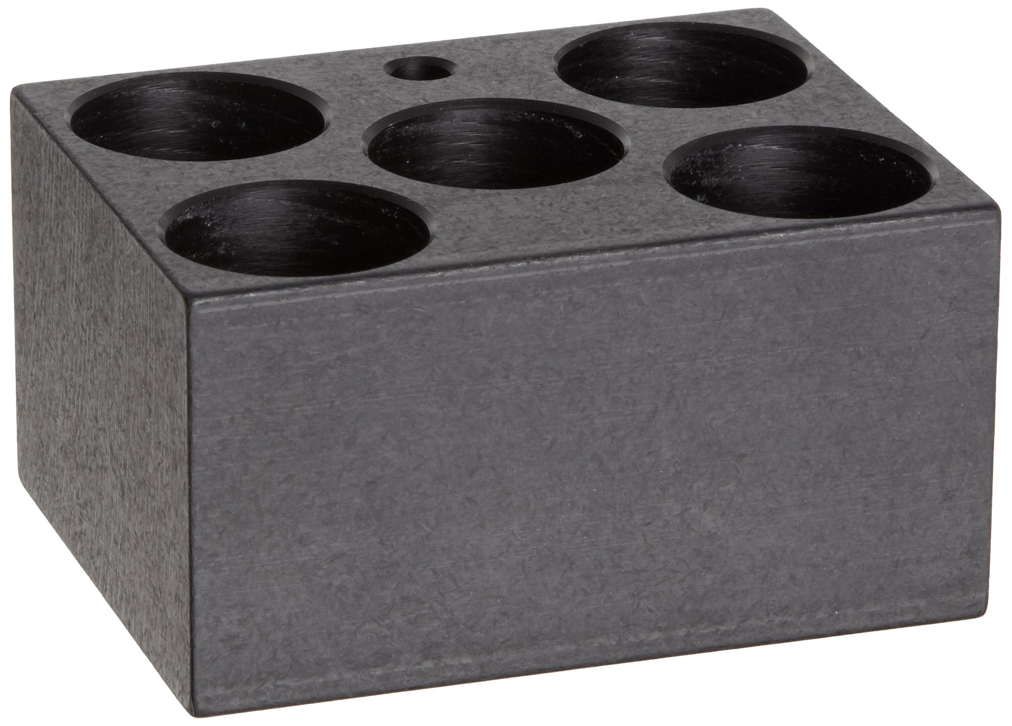 Talboys 949127 Anodized Aluminum Conical Bottom Centrifuge Tube Single Heat Block, 5 Well, 29.0mm Well Diameter, 3.75'' Length x 3'' Width x 2'' Height, For 50mL Tube