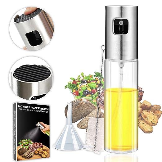 Mowdee Ölsprüher mit extra feinem Sprühnebel - 100ml Sprühflasche - Premium Essig- und Öl Zerstäuber aus transparentem Krista