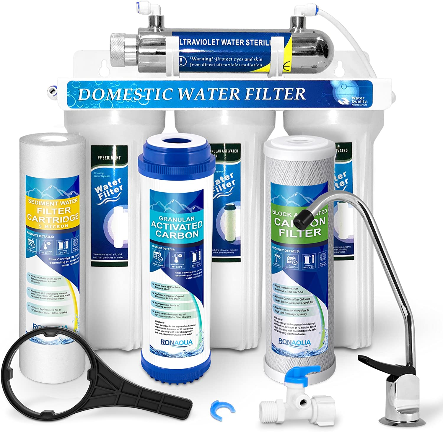 Premium Under Sink Direct Connect Water Filtration System & Ultraviolet Light Water Sterilizer 6W, 1GPM with 100% lead-free Chrome faucet -Removes Chlorine, Bad Tastes, Odors & 99.99% of Contaminants