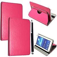 """Colourful Stuff Custodia universale per tablet in ecopelle, con supporto, rotante a 360°, adatto per tutti i Tablet Android da 10"""" e 10,1""""+ stilo touch pen PINK CASE COVER Universal 10.1"""" & 10"""""""