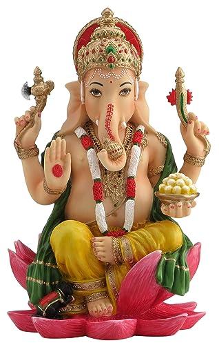 Ganesh Ganesha Hindu Elephant God of Success Statue, 7 1 4-inch Multi-Colored
