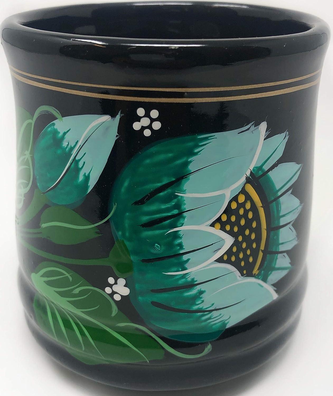 美しい装飾ブラックオアハカ陶器マグ/タザパラカフェデバロネグロアルテサナル (バージョン) B07P72981D