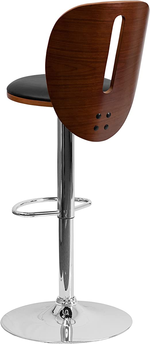 Flash Furniture Walnut Bentwood Adjustable Height Bar Stool With Black Vinyl Seat And Cutout Back Amazon Ca Home Kitchen