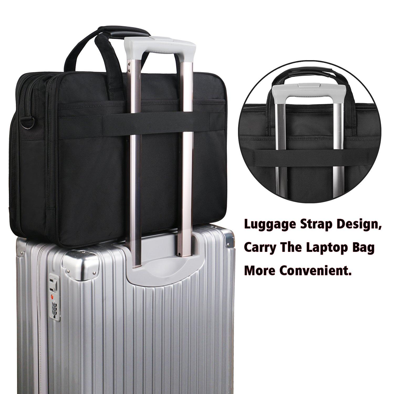 17 inch Laptop Bag,Expandable Briefcase Large Capacity Computer Bag for Women & Men,Oxford Nylon Fabric Shoulder Bag, Water Resistant Durable Messenger Bag Case for HP DELL 15 15.6 inch Laptop -Black by Ytonet (Image #5)
